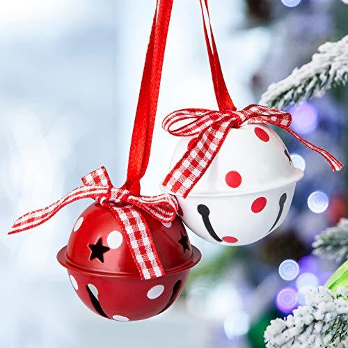 Naler Set di 12 Campanellini Natalizi Decorativi Campanellini Sonagli Grandi Decorazione di Natale, Matrimonio, Compleanno, 6 Rosso + 6 Bianco, 4CM