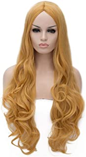 Flovex Women Long Wavy Cosplay Wigs Ladies Sexy Natural Costume Club Party Daily Hair with Wig Cap (Gold)