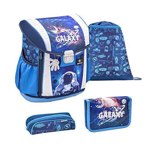 Belmil Ergonomischer Schulranzen Set 4 - teilig Größen verstellbar Mädchen 1. 2. 3. 4. klasse - gepolsterter Hüftgurt und Brustgurt/Weltraum, Space/Blau, Blue (404-20 Astronaut in Galaxy)