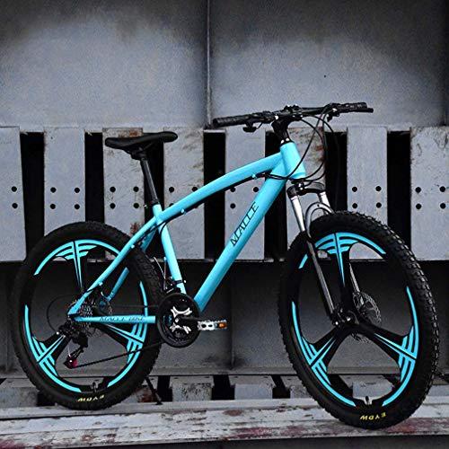 AISHFP Erwachsene Mountain Bike, Strand Snowmobile Fahrrad, Doppelscheibenbremse für Fahrräder, Alufelgen 24 Zoll, einen Mann eine Frau General Purpose,Blau,24 Speed