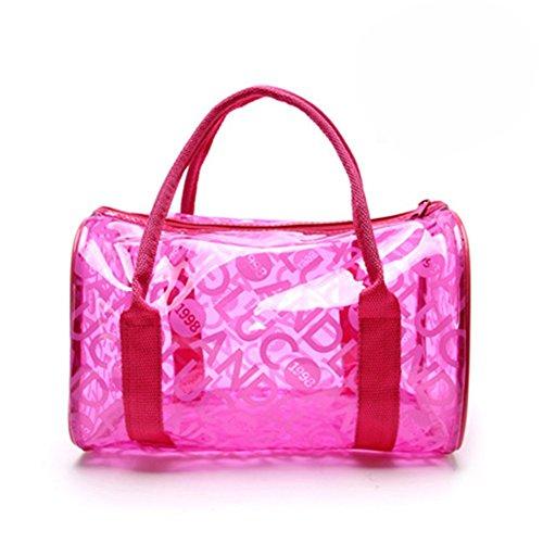Hugestore - Borsa a secchiello da spiaggia in PVC trasparente impermeabile, portaoggetti o borsa nuoto. Borse shopper Hot Pink