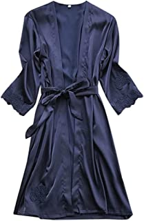 Lady Bathrobe, Women Sexy Lingerie Solid Silk Robe Dressing Gown Nightdress Loungewear Sleepwear Kimono