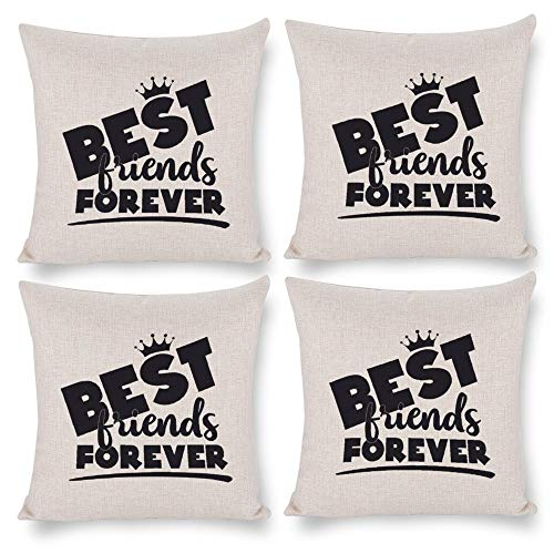 No branded Pack 4,Pillow Covers 18x18 Set of 4,Throw Pillow Cases Home Decor 4pcs Best Friends Forever Black Farmhouse Square Cushion Pillowcase for Sofa Bedroom Car Patio Chair Nursery
