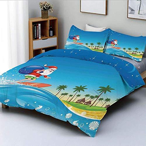 Zozun Juego de Funda nórdica, Surfing Santa on a Wave con Saco en la Playa Tropical Night Fantasy Cartoon Juego de Cama Decorativo de 3 Piezas con 2 Fundas de Almohada, Multicolor, niño