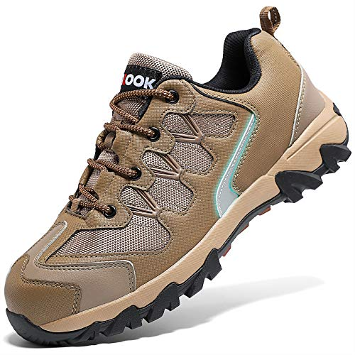 ASHION Stahlkappe Sicherheitsschuhe Herren, Industrie Handwerk Schuhe Atmungsaktiv Leichte Reflektierende Arbeitsschuhe(A-Braun,47 EU)