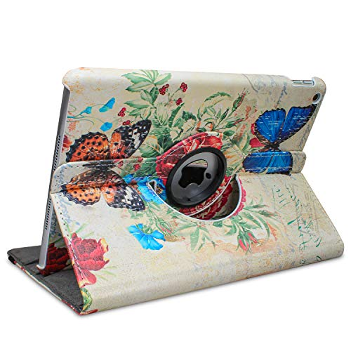 ipad Model A1876 Case for ipad Pro 12.9' 4th Generation 2020 & 12.9'' 3rd Gen 2018-360 Degree Rotating Smart Stand Cover Supports Auto Sleep/Wake (Butterfly Flower Design)
