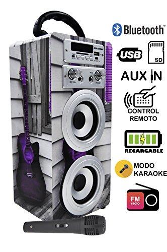 DYNASONIC - Altavoz con Bluetooth para Karaoke con Micrófono, Multicolor Modelo 025-3 | Altavoz Inalámbrico Karaoke