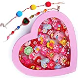 Ziggle kids girls cartoon fancy finger rings and Bracelet for birthday gifts comes in pink heart...