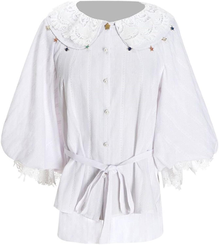 Fanplusfriend Classic Lolita Summer Shirt Cute Blouse White Jacquard Stripe Cotton