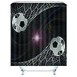 Jaeknxcg Duschvorhang 180x200CM Fußball Wasserdicht & schimmelresistent Badvorhang Blickdicht mit Duschvorhangringen,Duschvorhänge für Dusche in Badezimmer