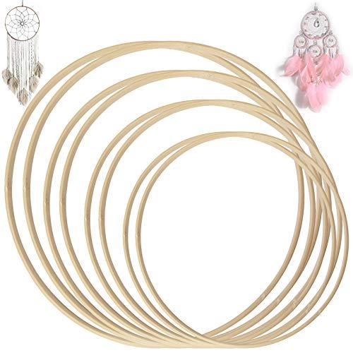 Koytoy Bambus Ringe Set 8 Stück 4 Größen Traumfänger Holzring Holzreifen für DIY Kranz Decor Hochzeitskranz Dekor und Wandbehang Handwerk