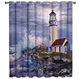 Vandarllin Customized Window Curtains Panel Vintage Lighthouse Beach Painting Printed Door/Window Treatment for Home,Bedroom,Living/Dining/Kids Room,Patio,52x52 Inch Blue