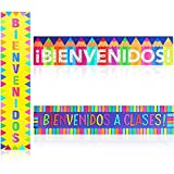Bienvenidos Sign, Spanish Welcome Banner for Classrooms (39 x 8 Inches, 3 Pack)