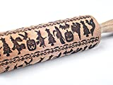 OLETNY Embossed Rolling Pins, 3D Rolling Pin Pattern with Design Homemade, Suitable for Cookies, Baking, Holiday, Festival, Family, Mother, Friends (Halloween Theme Pattern)