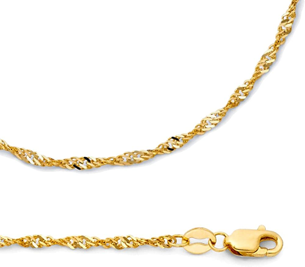 ZenJewels Solid 14k Yellow Gold Chain Singapore Necklace Twisted Links Diamond Cut Polished 1.8 mm 16,18,20,22,24 inch