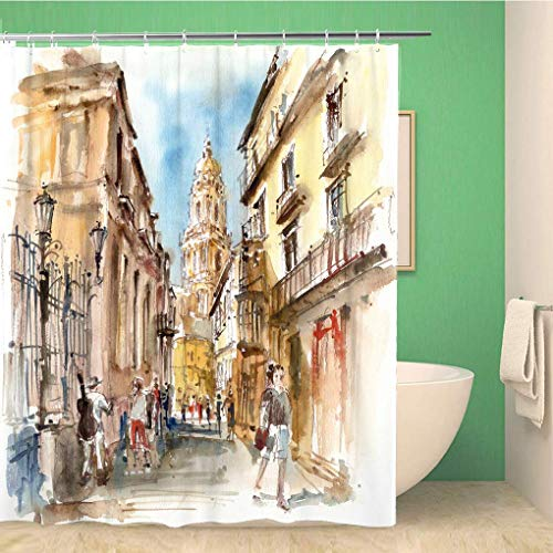 EQKWJ 72x72 Inches Shower Curtain View of The Cathedral Malaga Watercolor Illustrationeuropean Facade Old Restaurant Waterproof Polyester Fabric Bath Bathroom Curtain Set with Hooks 72x79 Inch