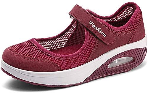 Sandales Femme Mailles Chaussures de Fitness Baskets Mode Compensées Mary Janes pour Femme Espadrilles Chaussures de Sport Eté A-Rouge-2 EU40