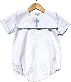 Sweet Dreams Baby Boys Christening Baptism Bubble Set Outfit Pleated Blue Cross