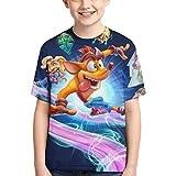 Crash Bandicoot Camiseta Divertida de Moda con Estampado 3D para niños y Adolescentes, Camiseta Unisex de Verano de Manga Corta