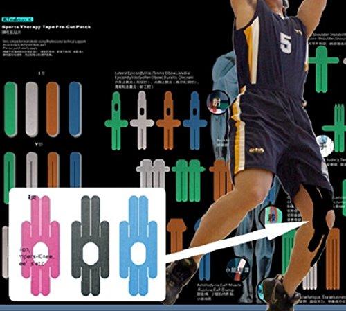 Kindmax Pre-Cut Tapes Knee 40cm x 15cm für das Knie Kinesiologie Tape + Tapes4you Aufkleber (Hellblau)