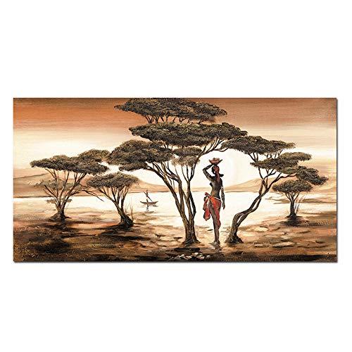 NIESHUIJING Druck auf Leinwand Malerei Abstrakte Landschaft Moderne afrikanische Frauen Druck und Poster Wandkunst Wohnkultur für Wohnzimmer 23,6