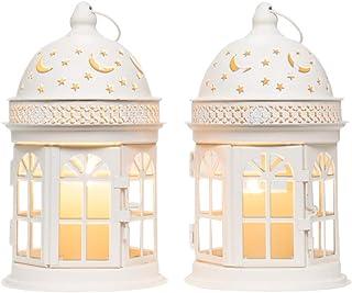 JHY Design Set of 2 Decorative Lanterns-8.5inch High Vintage Style Hanging Lantern, Metal Candle Holder for Indoor Outdoor...