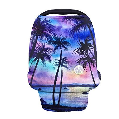 TOADDMOS Hermosa funda elástica para asiento de coche de bebé, diseño de palmeras, color morado y azul tropical