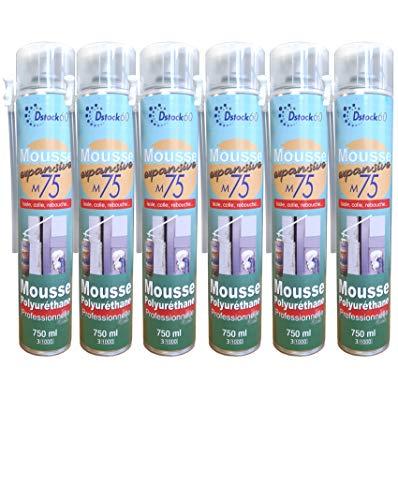 DSTOCK60 – Lote de 6 espumas poliuretano expansiva profesionales 750 ml – Espuma de poliuretano profesional – aislante, cola, rebote, exterior e interior
