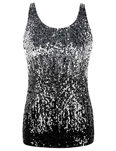 kayamiya Women's 1920S Style Glitter Sequined Vest Tank Tops M Silver/Grey/Black