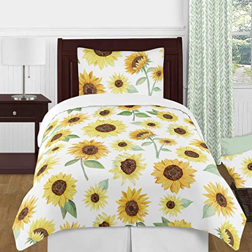Sweet Jojo Designs Yellow, Green and White Sunflower Boho Floral Girl Twin Size Kid Childrens Bedding Comforter Set - 4 Pieces - Farmhouse Watercolor Flower