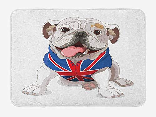 Casepillows Engels Bulldog Bad Mat, Gelukkige Hond Het dragen van een Union Jack Vest Cartoon Stijl Dierenontwerp, Pluche Badkamer Decor Mat met Non Slip Backing, 23,6 x 15,7 Inch, Crème Navy Blauw Rood