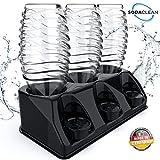 SODACLEAN Premium 3 portabotellas de plástico Negro Brillante escurridor para Botellas SodaStream Aarke Emil con Soporte para Tapa Resistente al lavavajillas Crystal Easy Power