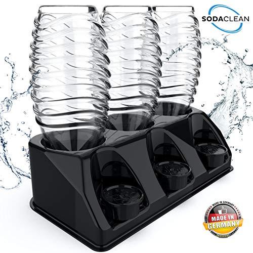 SODACLEAN® Premium 3er Flaschenhalter Kunststoff schwarz Hochglanz | Abtropfhalter für SodaStream Aarke Emil Flaschen mit Deckelhalterung | Abtropfgestell spülmaschinenfest | Crystal Easy Power