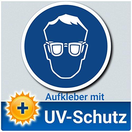 Augenschutz benutzen Aufkleber Schild, Gebotszeichen nach DIN 4844-2, Material mit UV-Schutz, Hinweiszeichen Schutzbrille tragen