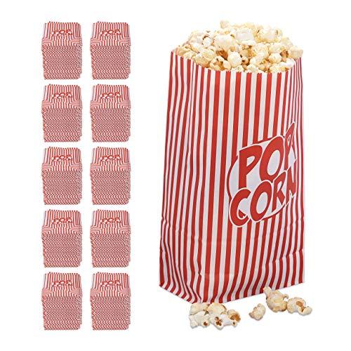 1440x popcorn zakjes, papier, accessoire filmavond, kinderverjaardag, retro zakken voor popcorn, rood-wit