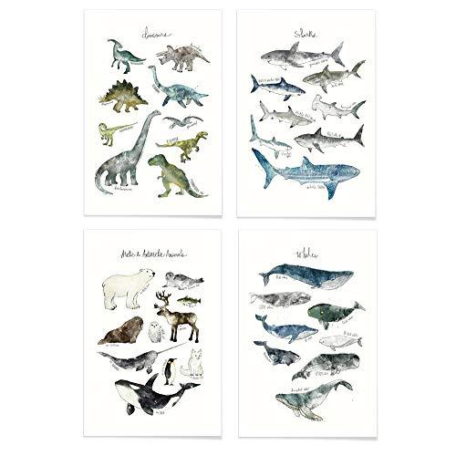 JUNIQE® Poster-Set - Tier-Charts - Poster & Prints für stilvolle Wände - 4X 20x30
