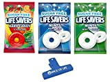 Life Savers Sugar Free Variety, Wint O Green, Pep O Mint, and 5 Flavors, 2.75 oz Bags, 1 Bag of Each with Spice of Life Bag Clip