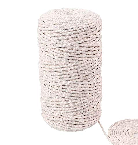 Cuzzspet Handmade Decorations Natural Cotton Macrame Cord for DIY Wall Hanging Plant Hanger Craft Making Knitting Rope Natural Color Macrame Cord