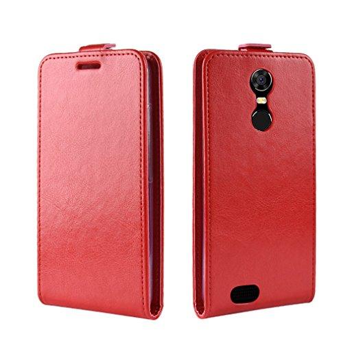 LMFULM® Hülle für OUKITEL C8 3G / 4G (5,5 Zoll) PU Leder Magnet Brieftasche Lederhülle Up-Down-Flip Design Standfunktion Ledertasche Cover für OUKITEL C8 Rot