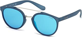 Guess Women's GU6890 GU6890 91X Round Sunglasses, Blue, 52 mm