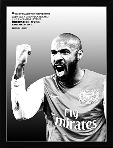 Thierry Henry Poster, Canvas, Arsenal Football, Wall Art Decor for Gym, Home Living, Kids Bedroom, Gift, Man cave, Office Decoration (Black Frame 12x16 - Print 8x10)- Portrait
