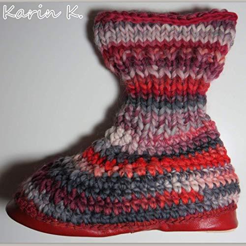 Hüttenschuhe Hausschuhe mit Ledersohlen Rot im Farbverlauf Schuhgröße 40/41