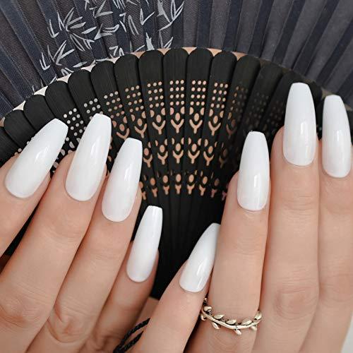 WOVP Faux Ongles Gris Marbre Pierre Faux Ongles 24 Pcs Plat Faux Ongles Conseils pour Salon Party Faux Ongle