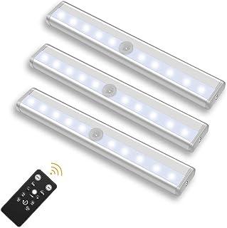 TopYart LEDライト 電池式 リモコン付き 配線不要 高輝度 10階段調光可能 タイミング機能 キャビネット 階段 廊下 部屋 キッチン などの場所に適用3個セット(昼白色)