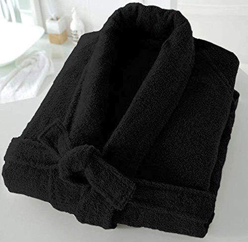 Casabella - Albornoz de rizo de 500 g/m², 100 % algodón, con cuello esmoquin, unisex, algodón, negro, S/M