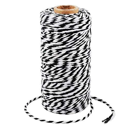 G2PLUS 100M Schwarz und Weiß Baumwolle Schnur, Bäcker Bindfäden Bastelschnur Dekokordel Schnur Perfekt für DIY Kunstgewerbe Gartenarbeit