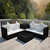 WT Trade Premium Poly Rattan Gartenmöbel-Set 14-TLG.| Schwarz | Lounge Möbel XXL Sitzgarnitur | Gartengarnitur Sitzgruppe Sofa