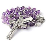 HanlinCC 8mm Natural Real Amethyst Crystal 5 Dacade Fancy Miraculous Center Piece Rosary Necklace with Anti-Silver Catholic Crucifix Pack in Leather Gift Box