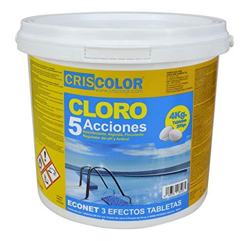 CRISCOLOR Cloro para Piscina EN Pastillas - 5 ACCIONES (4 Kg)