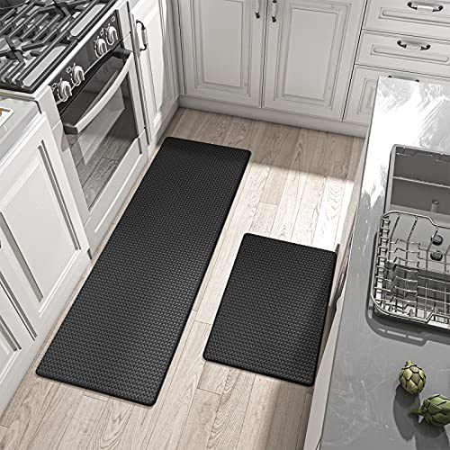 DEXI Kitchen Rugs and Mats Cushioned Anti Fatigue Comfort Runner Mat for Floor Rug Standing Rugs Set of 2,17'x29'+17'x59', Black